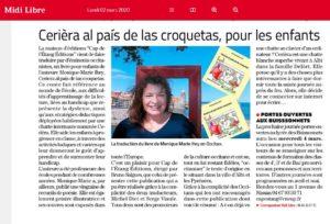 Article du journal Le Midi Libre sur le livre Cerise
