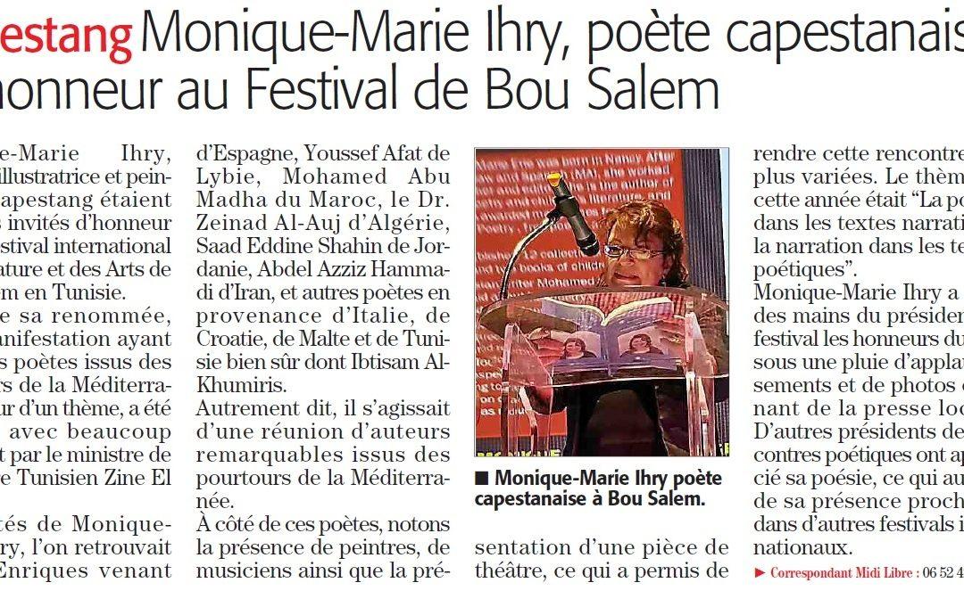 Notre auteure Monique-Marie à l'honneur à Bou Salem (Tunisie)