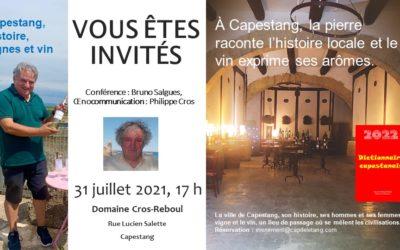 Capestang, histoire, vignes et vin réunis au domaine Cros-Reboul le 31 juillet 2021 pour une conférence