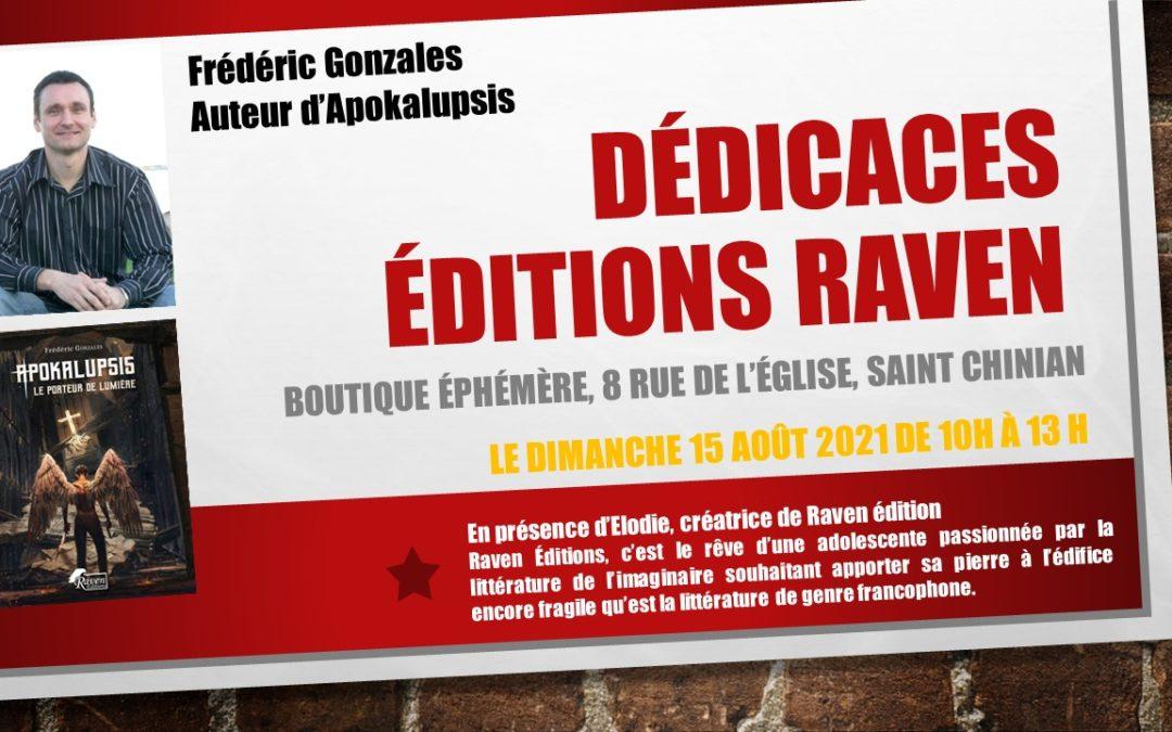 Dédicace éditions Raven le dimanche 15 août